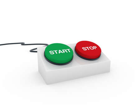 3d button stop start red green push switch photo