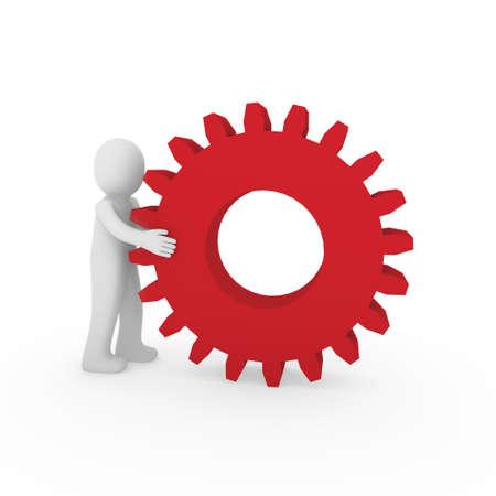 3d gear red human man teamwork business technology Stock Photo - 9372232