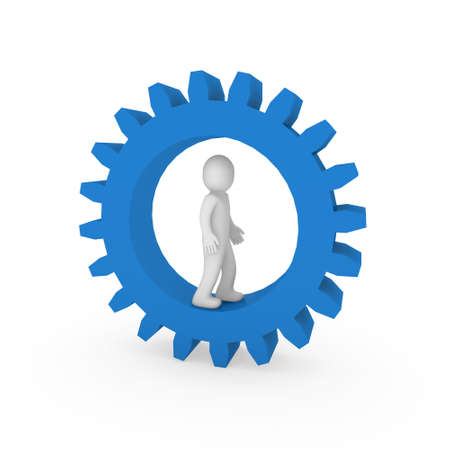 3d gear blue  human man business teamwork technology photo