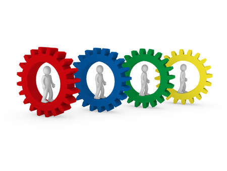 3d gear human men red blue green teamwork Stock Photo - 9372235