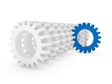 maschine: 3d human man gear blue technology maschine teamwork