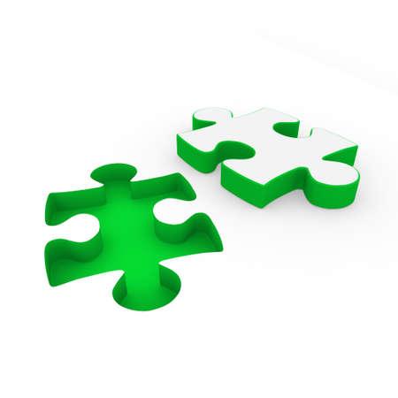 3d puzzle green white success connection piece business photo