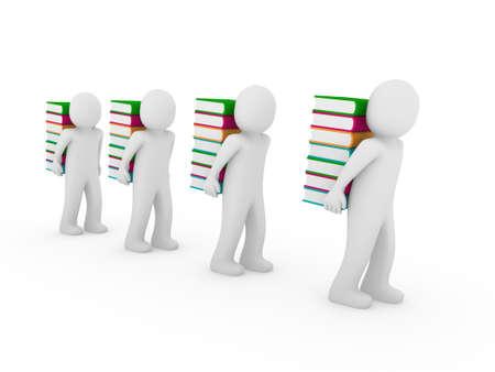 3d human book bear learn read pink orange Stock Photo - 9382152