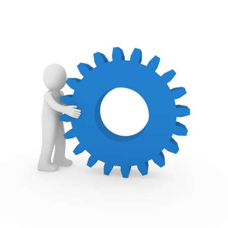 3d gear blue human man teamwork business technology Stock Photo - 9382146