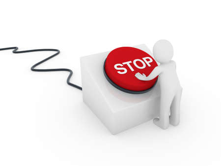 3d human man button red stop push business Stock Photo - 9382150