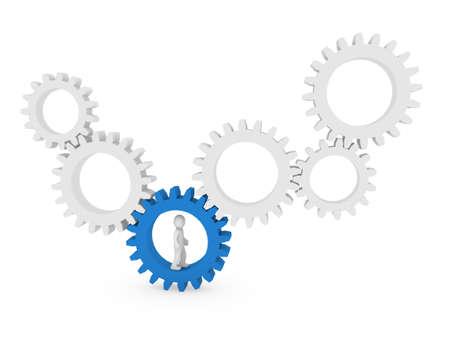 3d gear human man blue teamwork circle business Stock Photo - 9382139