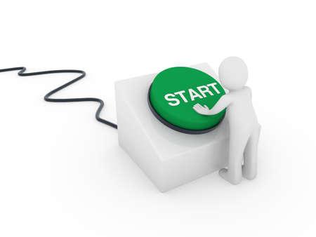 start button: 3d human man button green start push business
