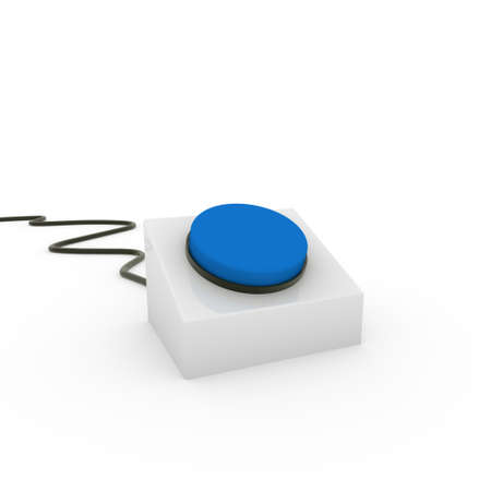3d button blue on off start stop push Stock Photo - 9409811