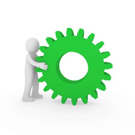 3d gear green human man teamwork business technology Stock Photo - 9422269