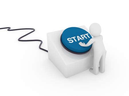3d human man button blue start push business Stock Photo - 9422272