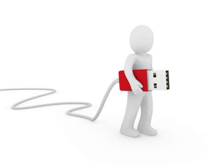 3d human man usb stick red plug cable photo