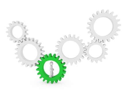 3d gear human man green teamwork circle business Stock Photo - 9451123