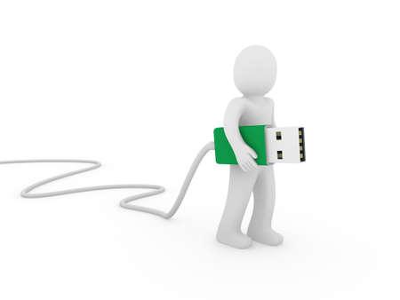 usb stick: 3d human man usb stick green plug cable