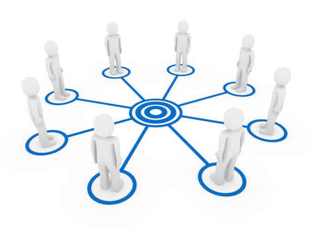 organization chart: 3d human men connection team teamwork circle blue Stock Photo