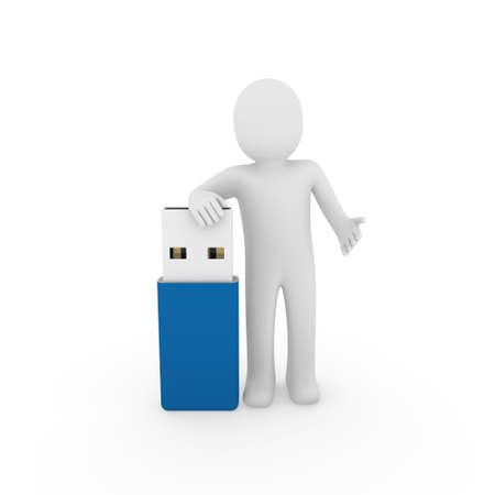 portable information device: 3d human man usb stick blue plug memory