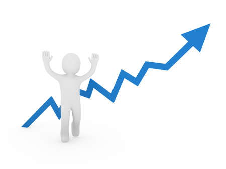 ascent: 3d human man blue graph arrow forward business Stock Photo