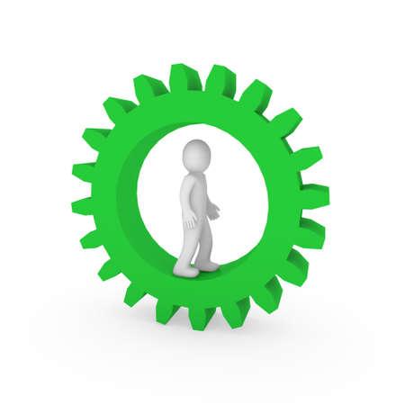 3d gear green human man business teamwork technology Stock Photo - 9451142