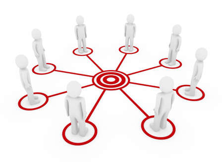 3d human men connection team teamwork circle red Stock Photo - 9451175