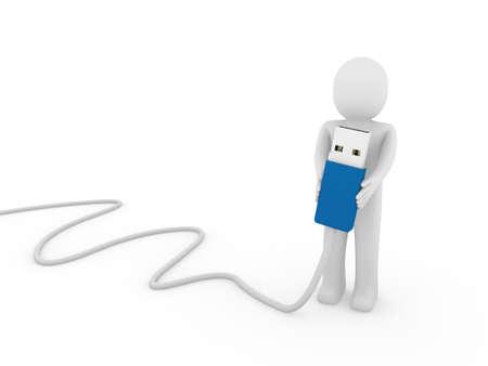 3d human man usb stick blue plug cable Stock Photo - 9491714