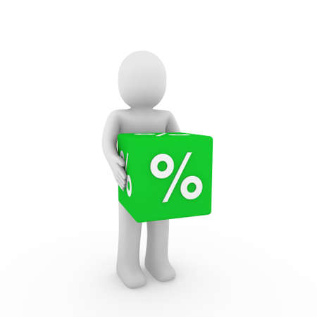 3d human green sale cube success percent business Stock Photo - 9491728
