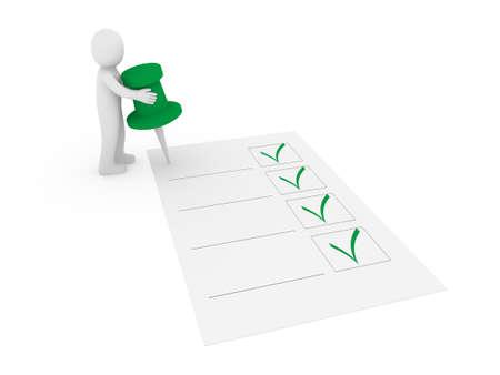 tack: 3d human man tack check green ok list