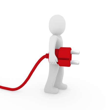 toma corriente: hombre humano 3D enchufe poder de socket de cable rojo