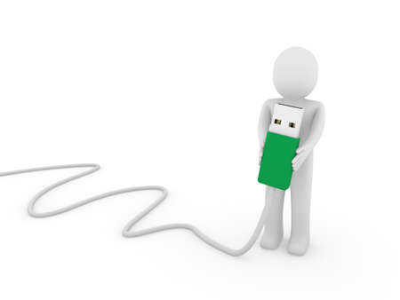 3d human man usb stick green plug cable photo