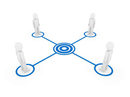 3d human men connection team teamwork circle blue photo