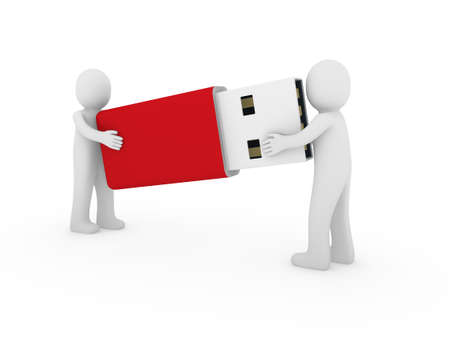 3d human men usb stick red plug memory photo