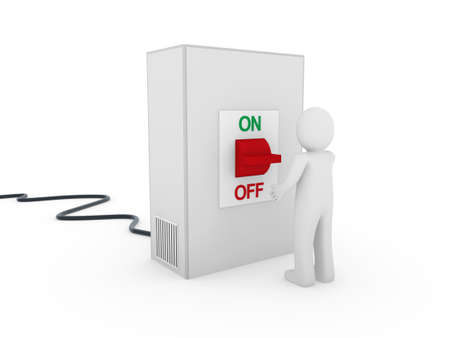 3d man switch red on off start stop Stock Photo - 9529535