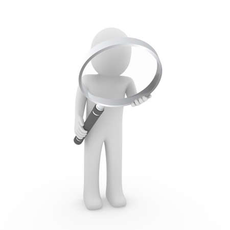 3d man human search magnifying glass lens seek Stock Photo - 9529532
