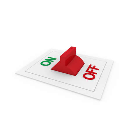 3d switch on off green red power button photo