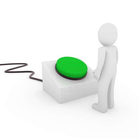 3d human man button stop start green push