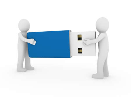3d human men usb stick blue plug memory photo