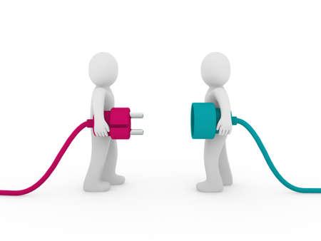 3d mannen menselijke plug roze groene kabel-energie