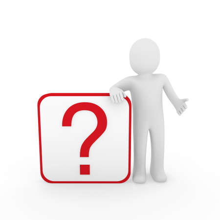 3d man human question mark red cube think Stock Photo - 9529549