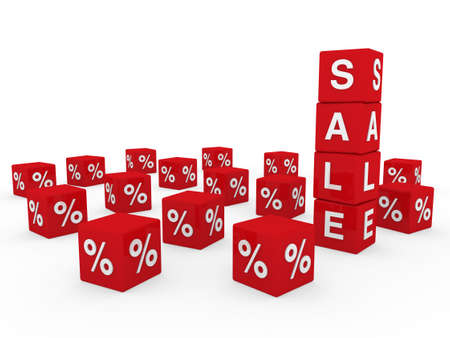 3d sale cube red discount percentage sell buy Stock Photo - 9529556