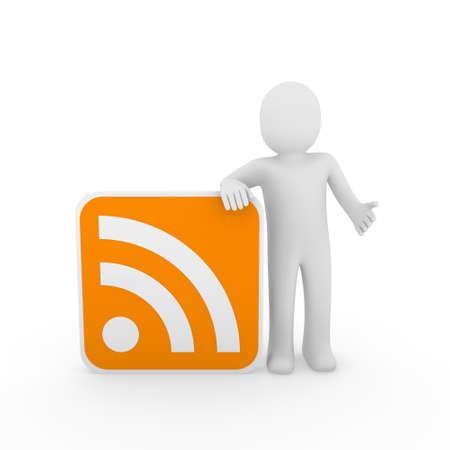 3d man human rss orange internet nezwork web Stock Photo - 9529550