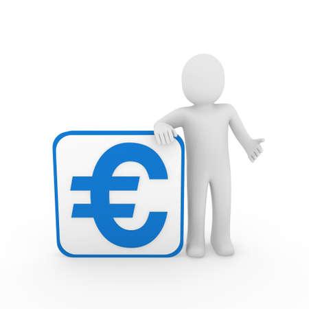 3d man human euro blue money business finance photo