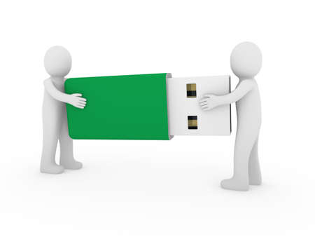3d human men usb stick green plug memory photo