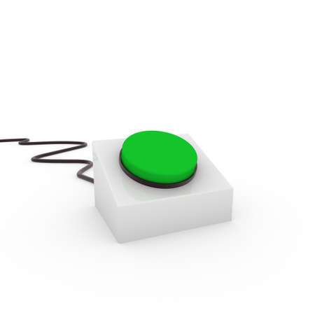 activation: 3d button green on off start stop push Stock Photo