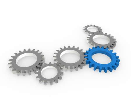 chrom: 3d gear blue steel chrom machine metal technology