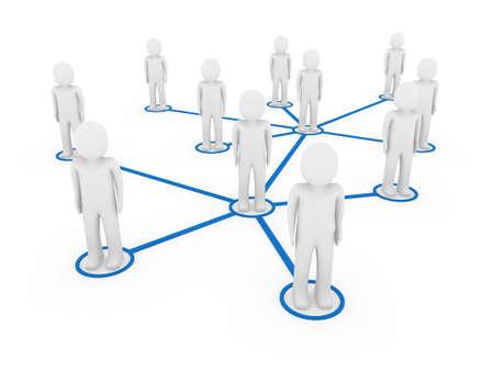 3d men network social blue people connection teamwork photo