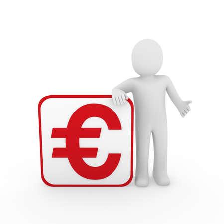 3d man human euro red money business finance Stock Photo - 9559670