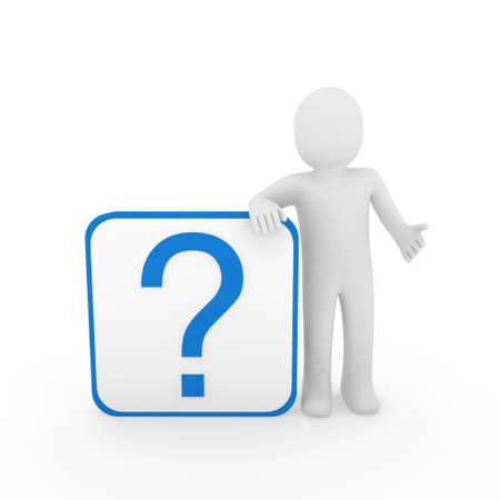 3d man human question mark blue cube think Stock Photo - 9559691