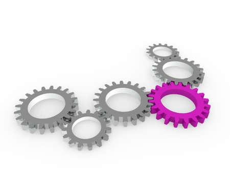 chrom: 3d gear purple steel chrom machine metal technology Stock Photo