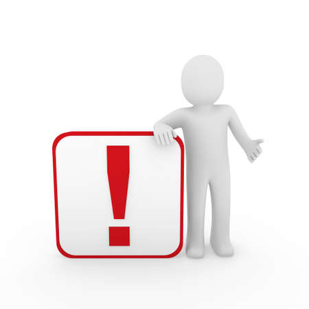 appeal: 3d man human red exclamation mark surprise cube