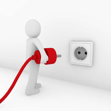 3d man plug socket red energy bio power Stock Photo - 9559705