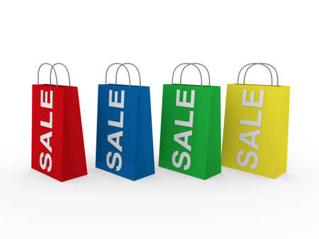 3d sale bag red retail shopping discount buy Stock Photo - 9559703
