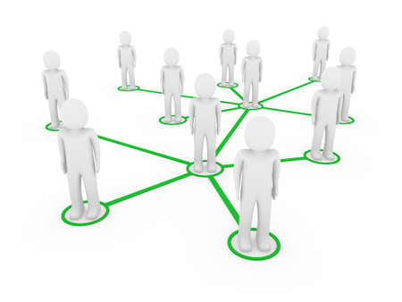 human resources strategy: 3d men network social green people connection teamwork Stock Photo